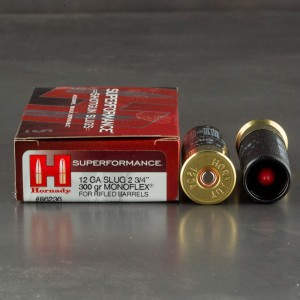 "5rds - 12 Gauge Hornady Superformance 2 3/4"" 300gr. Monoflex Sabot Slug Ammo"
