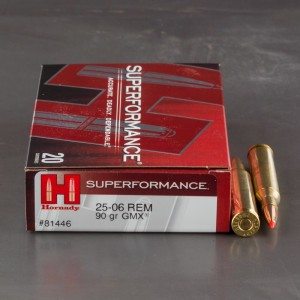 20rds - 25-06 Rem. Hornady 90gr. GMX Superformance Ammo