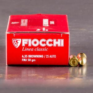 50rds - 25 Auto Fiocchi 50gr. FMJ Ammo