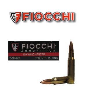 20rds - 308 Fiocchi 168gr. MatchKing Hollow Point Ammo