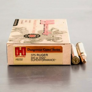 20rds - 375 Ruger Hornady Dangerous Game Series 300gr. DGS Ammo