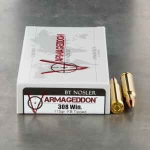 20rds - 308 Win Nosler Varmageddon 110gr. FB Tipped Ammo