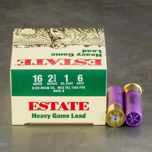 "25rds - 16 Gauge Estate Heavy Game Load 2 3/4"" 2 1/2 Dram 1oz. #6 Shot Ammo"