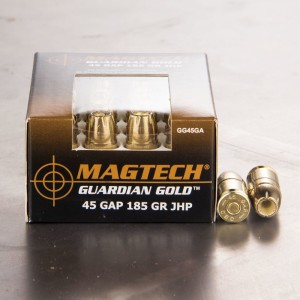 20rds - 45 GAP Magtech 185gr. Jacketed Hollow Point Ammo