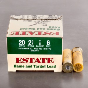 "25rds – 20 Gauge Estate Game and Target 2 3/4"" 2 1/2 Dram 7/8 oz. #6 Shot Ammo"