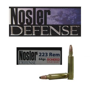 20rds - .223 Nosler Defense 64gr. Bonded Solid Base SP Ammo