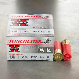"25rds – 12 Gauge Winchester Super-X 2-3/4"" 1-1/4 oz. #8 Shot Ammo"