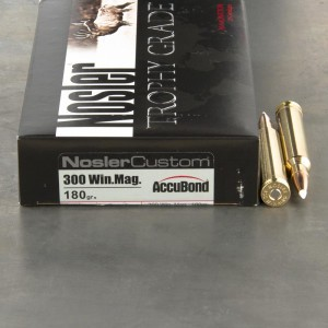 20rds - 300 Win Mag NoslerCustom Trophy Grade 180gr. Accubond Polymer Tip Ammo