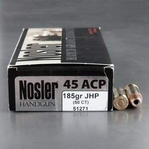 50rds - 45 ACP Nosler Match Grade Handgun 185gr. JHP Ammo