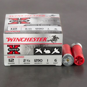 "25rds - 12 Gauge Winchester Super-X Game Load 2 3/4"" 1oz. #6 Shot Ammo"