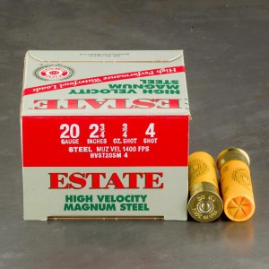 "25rds - 20 Gauge Estate HV 2 3/4"" 3/4oz. #4 Shot Steel Ammo"