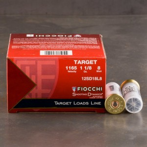 "25rds - 12 Gauge Fiocchi Target Shooting Dynamics 2 3/4"" 1 1/8oz. #8 Shot Ammo"