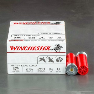 "100rds – 12 Gauge Winchester Heavy Game & Target 2-3/4"" 1-1/8 oz. #8 Shot Ammo"