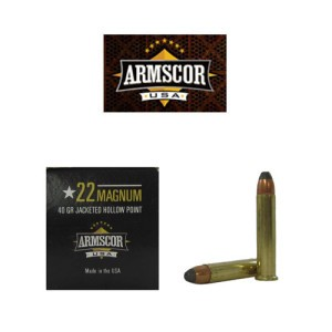 500rds - 22Mag Armscor Precision 40gr Jacketed Hollow Point Ammo