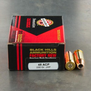 20rds - 45 ACP Black Hills 230gr. Jacketed Hollow Point Ammo