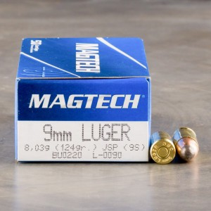 50rds - 9mm Magtech 124gr. Jacketed Soft Point Ammo