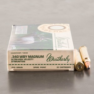 20rds – 340 Weatherby Magnum Weatherby Ammunition 250gr. Spire Point Ammo