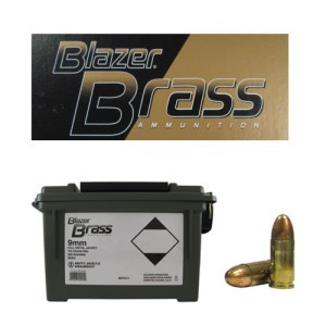 350rds - 9mm Luger Blazer Brass 115gr. FMJ Ammo in Polymer Ammo Can
