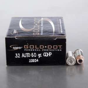 20rds - 32 Auto Speer Gold Dot 60gr. HP Ammo