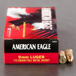 1000rds - 9mm Federal American Eagle 115gr. FMJ Ammo