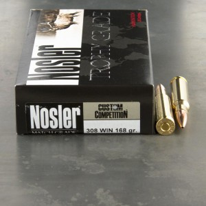 20rds - 308 Win Nosler Custom Competition 168gr. HPBT Ammo