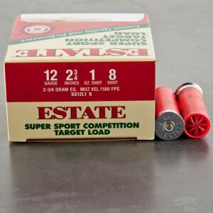 """25rds - 12 Gauge Estate Super Sport Competition Target 2-3/4"""" 1 oz. #8 Shot Ammo"""