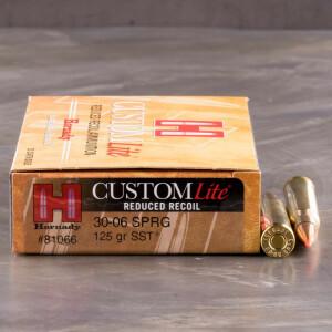 20rds - 30-06 Hornady CustomLite 125gr. SST Polymer Tip Reduced Recoil Ammo