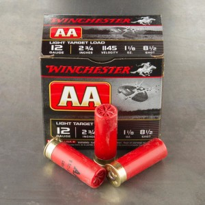 "25rds - 12 Gauge Winchester AA Light Target 2-3/4"" 1-1/8 oz. #8 .5 Shot Ammo"