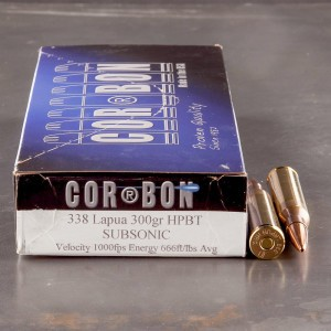 20rds - 338 Lapua Corbon Performance Match 300gr. Sub-Sonic HP