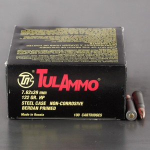 1000rds – 7.62x39 Tula Cartridge Works 122gr. HP Ammo