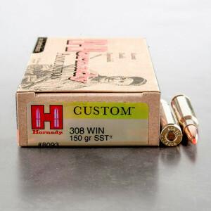 20rds - 308 Win. Hornady 150gr Super Shock Tip (SST) Ammo