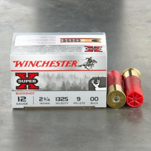 "15rds - 12 Ga. Winchester Super-X Full Power 2 3/4"" 9 Pellet 00 Buck Value Pack Ammo"
