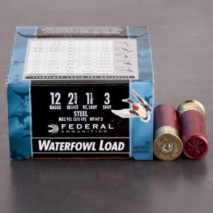 "25rds - 12 Ga. Federal Speed-Shok 2 3/4"" 1 1/8oz #3 Steel Shot"