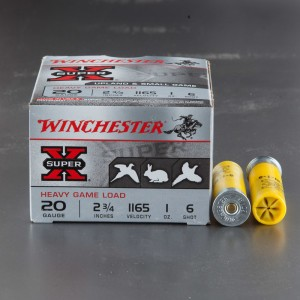 "25rds - 20 Gauge Winchester Super-X Heavy Game Load 2 3/4"" #6 Shot Ammo"