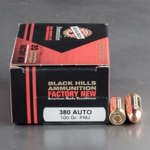 20rds - 380 Auto Black Hills 100gr. Full Metal Jacket Ammo