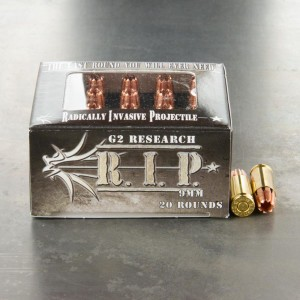 20rds - 9mm G2 Research RIP 96gr. HP LF Ammo