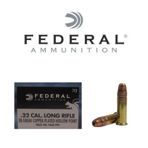 500rds - 22LR Federal 38gr. Copper Plated Hi-Velocity HP Ammo