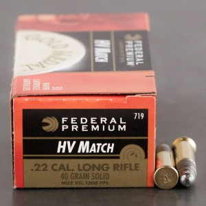 50rds - 22LR Federal Gold Medal High Velocity Match 40gr. Solid Point Ammo