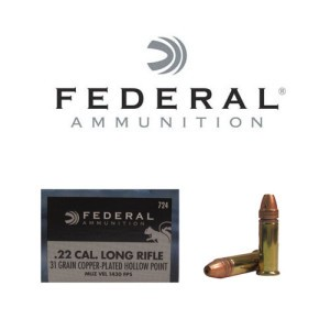 50rds - 22LR Federal 31gr. Copper Plated Hyper Velocity HP Ammo