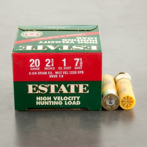 "25rds - 20 Gauge Estate HV Hunting 2-3/4"" 1oz. #7-1/2 Shot Ammo"