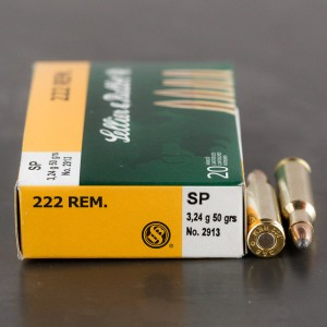 20rds - .222 Sellier & Bellot 50gr. Soft Point Ammo