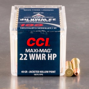 50rds - 22 Mag CCI Maxi-Mag 40gr. Hollow Point Ammo