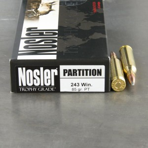 20rds - 243 Win. NoslerCustom 85gr. Partition Soft Point Ammo