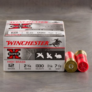 """25rds - 12 Gauge Winchester Super-X Upland & Small Game 2-3/4"""" 1-1/4 Ounce #7-1/2 Shot Ammo"""