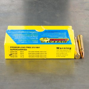 20rds - 375 H&H Mag. Supercharged Buffalo Bore 270gr. Barnes TSX HP Ammo