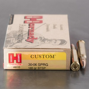 20rds - 30-06 Hornady Custom 165gr. Boat Tail Soft Point Ammo