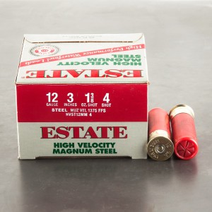"25rds - 12 Ga. Estate 3"" 1-3/8oz. HV #4 Steel Shot Ammo"