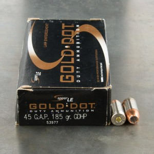 50rds - 45 Gap Speer Gold Dot 185gr. HP Ammo