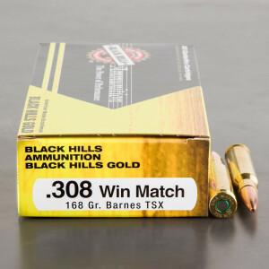 20rds – 308 Black Hills Gold 168gr. Barnes TSX HP Ammo