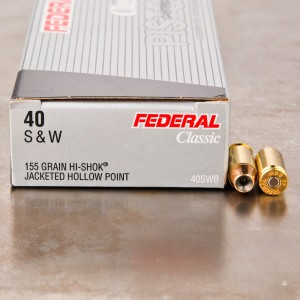 50rds - 40 S&W Federal LE Hi-Shok 155gr. Hollow Point Ammo